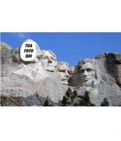 Fotomontaggio libero di mettere la vostra faccia sulla famosa opera del Monte Rushmoreen