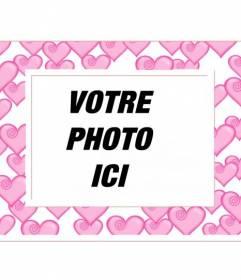 Cornice per foto con rose e cuori decine di bordo bianco. Per gli amanti