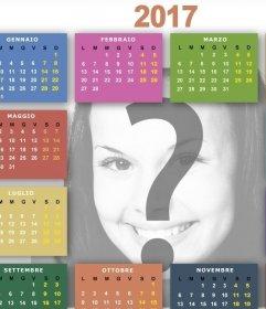 Template per modificare un calendario 2017 in linea con una delle tue immagini