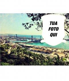 Cartolina con un paesaggio di Barcellona