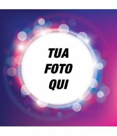 Cornice per foto con lucida viola e lilla scintilla con forma circolare per fare la tua foto e aggiungere testo gratuitamente
