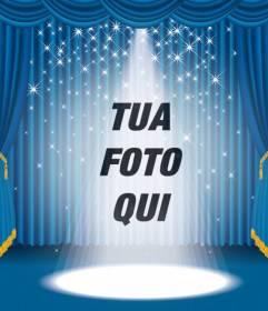 Fotomontaggio in cui dovrete apparire su un palco con luci e tenda blu
