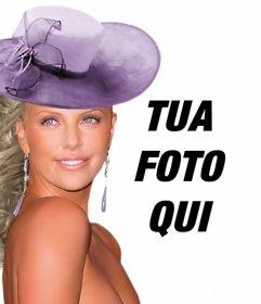 Creare fotomontaggi con Charlize Theron gala vestito con un abito viola e un cappello di corrispondenza accanto a voi