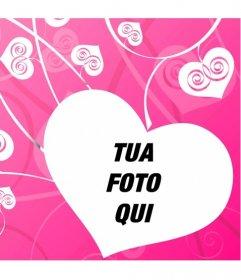Fotomontaggio di amore per decorare le vostre foto romantiche con uno sfondo di cuori bianchi su fondo rosa, creando un effetto di amore