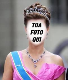 Fotomontaggio di una principessa con corona e vestito di gala per mettere il vostro
