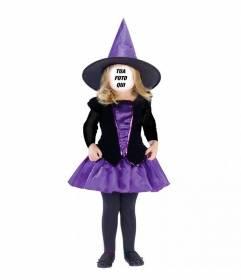Fotomontaggio di ragazza vestita come una strega per mettere la vostra faccia