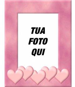 """Cornice con bordo rosa decorati con cuori. Carica una foto, ritagliare e mettere questo bordo come una decorazione che ispira l""""amore"""