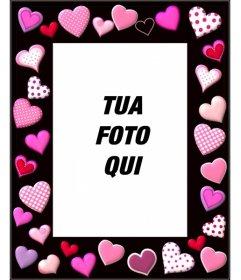 Photo frame con cuori rosa su sfondo nero