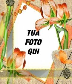 Telaio modello con fiori e la tua foto