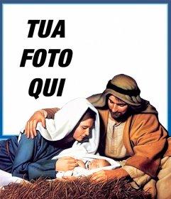 Cartolina di Natale Jesus Manger per caricare la tua foto