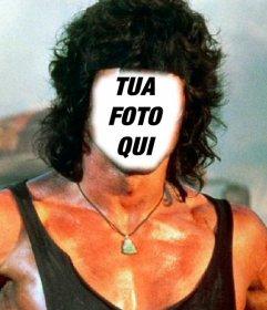 Fotomontaggio che si può mettere la faccia che si desidera nel corpo di Rambo Carica