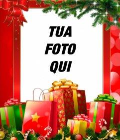 Cornice di Natale con molti regali da personalizzare con la tua foto