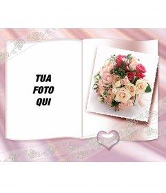 """Photo Frame con un libro e un po """"di cuore, rose e centro ornamentale"""