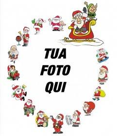 Bella cornice con vari Babbo Natale per decorare le foto