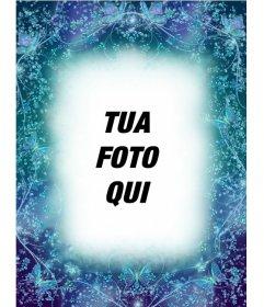 Photo frame con farfalle sfondo blu zaffiro di mettere una foto