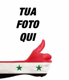Mano con la Siria bandiera per aggiungere la fotografico online