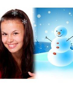 Cartolina di Natale semplice congratularmi con i vostri cari. Con pupazzo di neve e neve