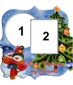 Frame per due foto in occasione di albero di Natale e pupazzi di neve