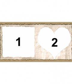 Cornice per due immagini con i bordi a forma di cuore e quadrato di carta. Aggiungere due immagini e si possono inviare o salvare il layout personalizzato