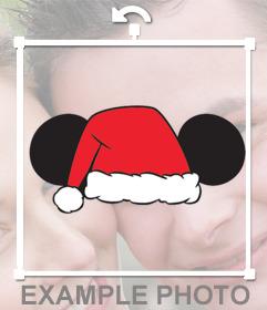Sticker di orecchie di Topolino con il cappello della Santa per le tue foto