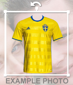 Camicia di Svezia nazionale di calcio per mettere nelle foto