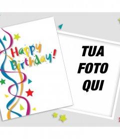 Auguri di compleanno per modificare con una foto e decorare con molti colori