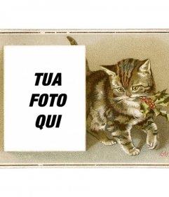Cartolina di Natale con vintage brown gatto disegnato con un agrifoglio in bocca e una casella in cui inserire una fotografia