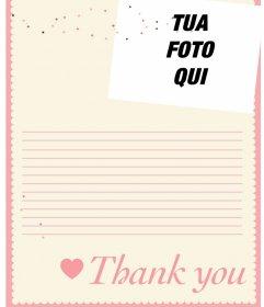 Online lettera di ringraziamento è possibile personalizzare con un montaggio fotografico