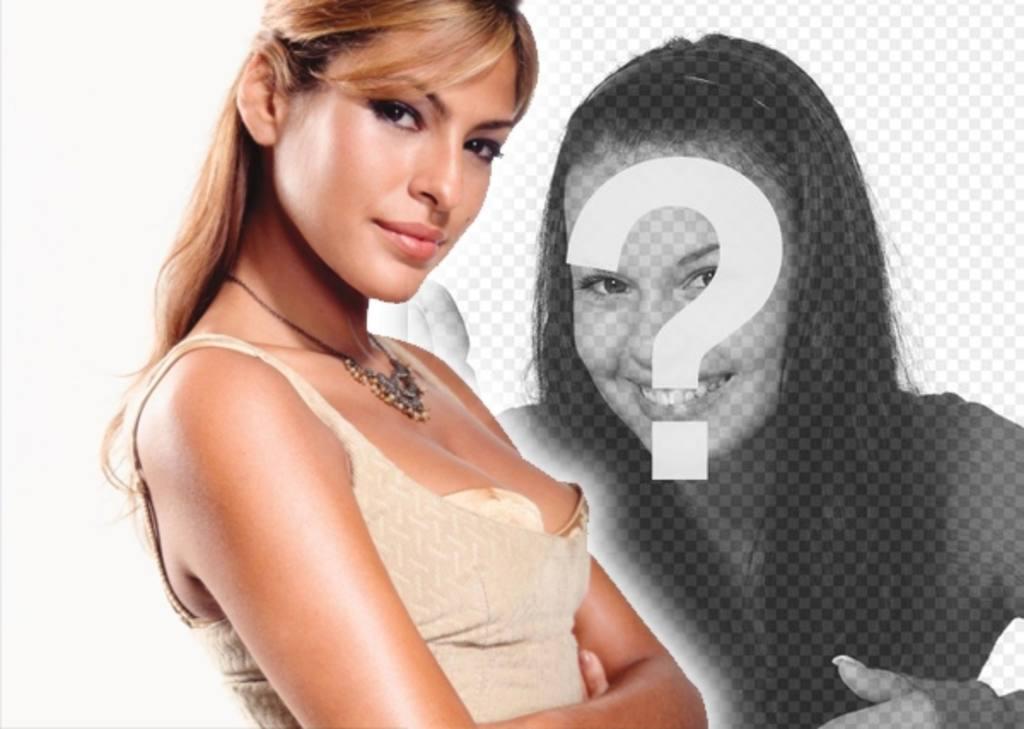 """Template per il collage di foto con personaggi popolari e celebrità. Carica la tua foto e stare vicino a Eva Mendes, modella e attrice. E """"semplice!"""