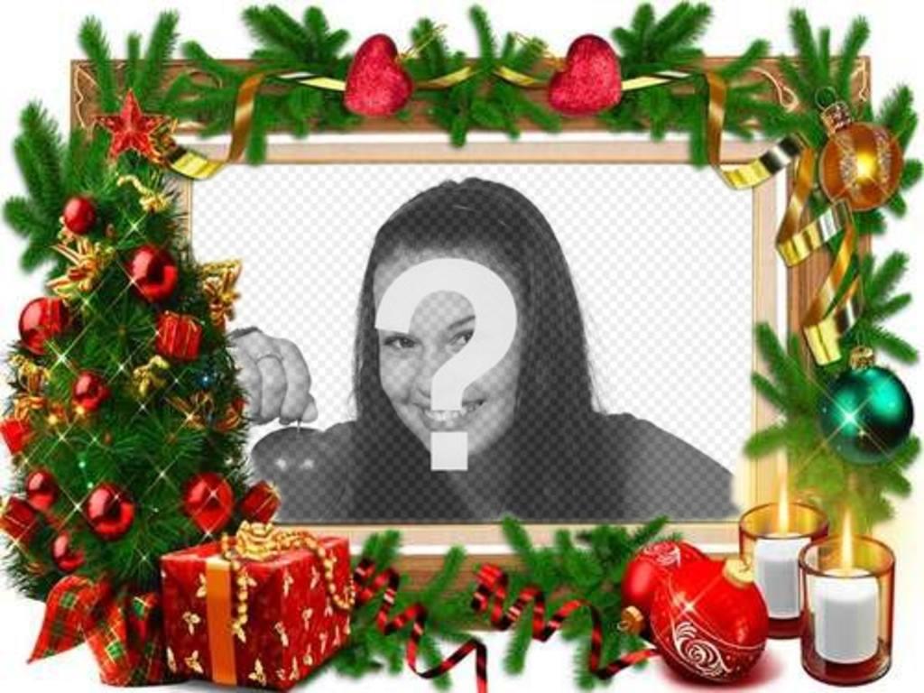 Un telaio per le foto con decorazioni natalizie
