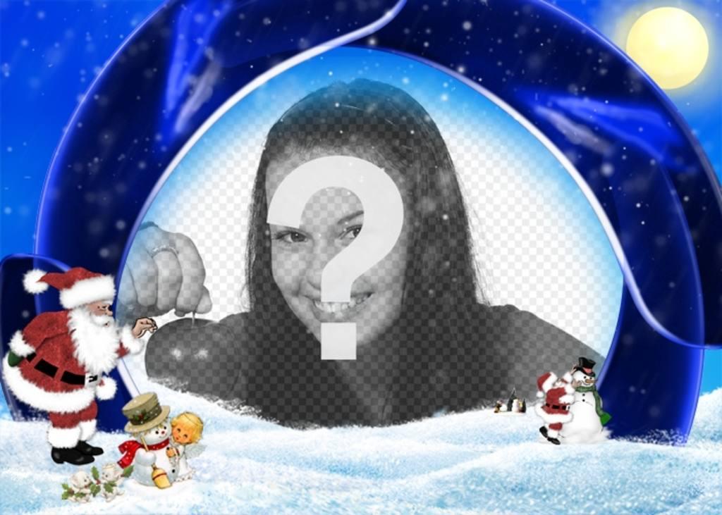 """Cartolina di Natale sfondo blu e la neve in cui inserire l""""immagine, sono Babbo Natale, un ragazzo e pupazzi di neve"""