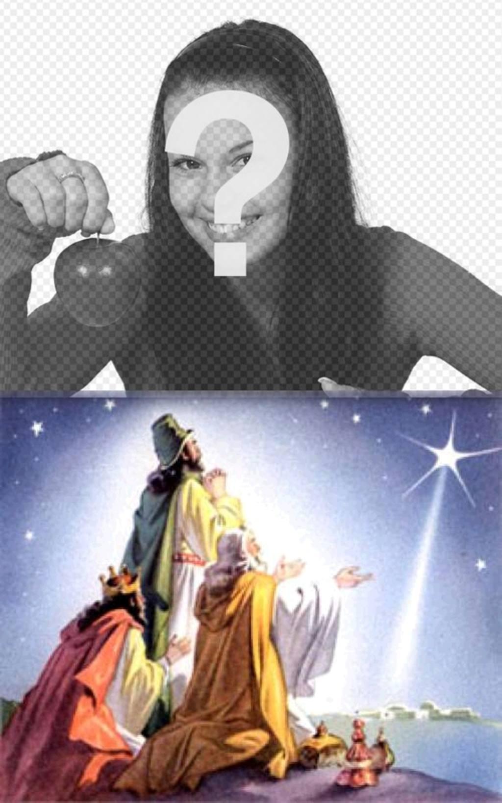 """Christmas Card dei tre saggi uomini d""""Oriente con le loro offerte a venire a Betlemme, seguendo la stella che ha segnato le Jesús.Podemos bambino mettere una foto di nostra scelta. Si congratula con le vacanze con lei"""