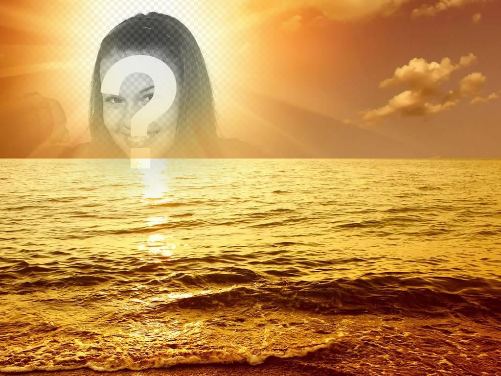 Fotomontaggio con un porto turistico tramonto, dove una faccia tagliata o immagine compare al centro del sole, la balneazione in un bagliore dorato un moto ondoso del mare leggero