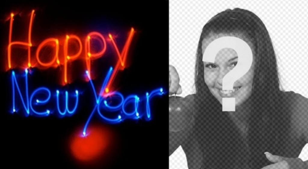 Si congratula con il nuovo anno con una animazione con lettere al neon con la tua foto di sfondo