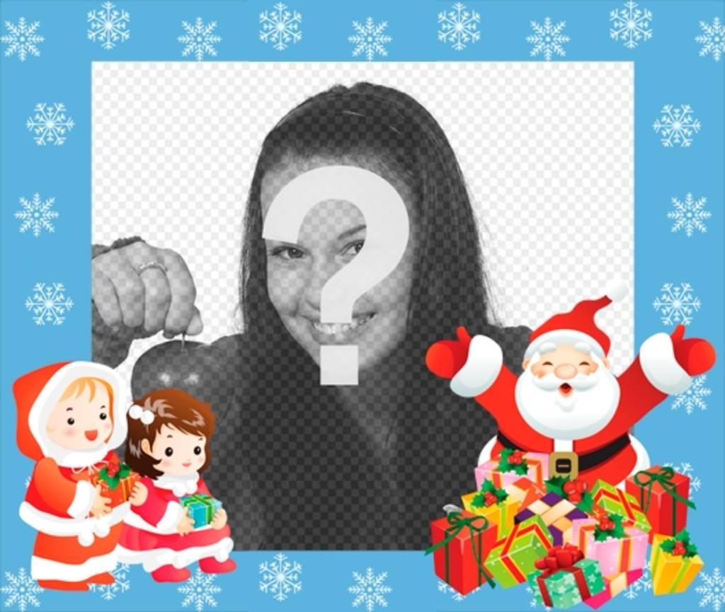 I bambini telaio con Babbo Natale e due bambini di mettere una scheda foto