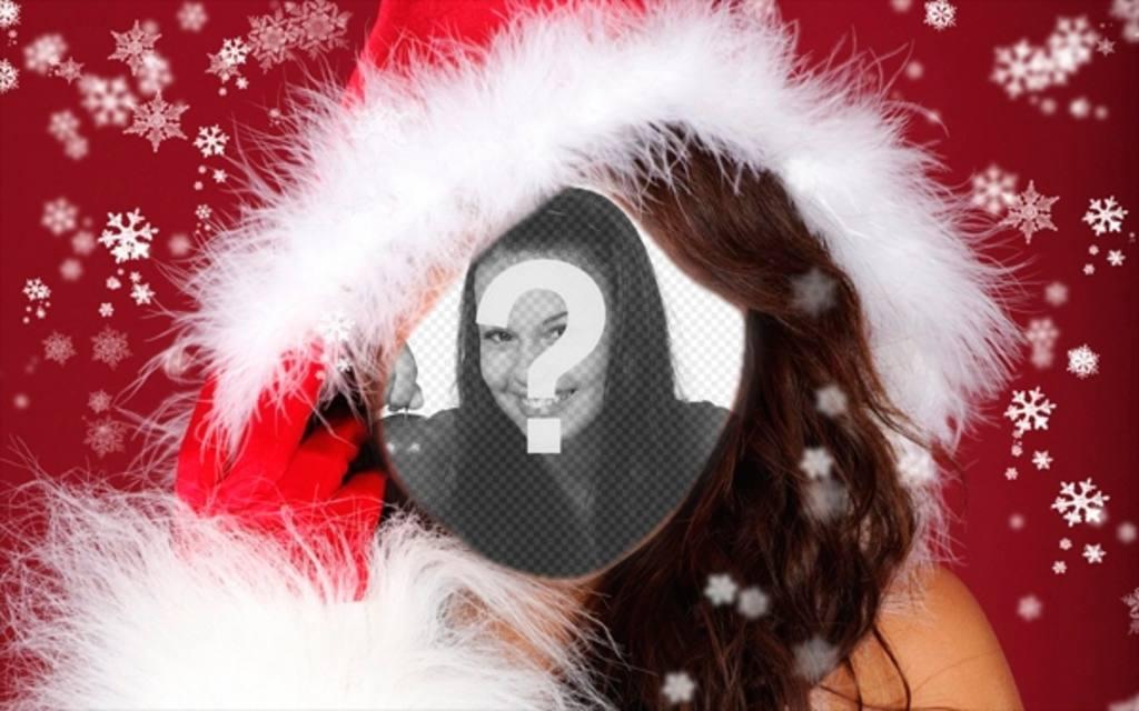 Fotomontaggio di assistente femminile di Babbo Natale a fare con la tua foto online