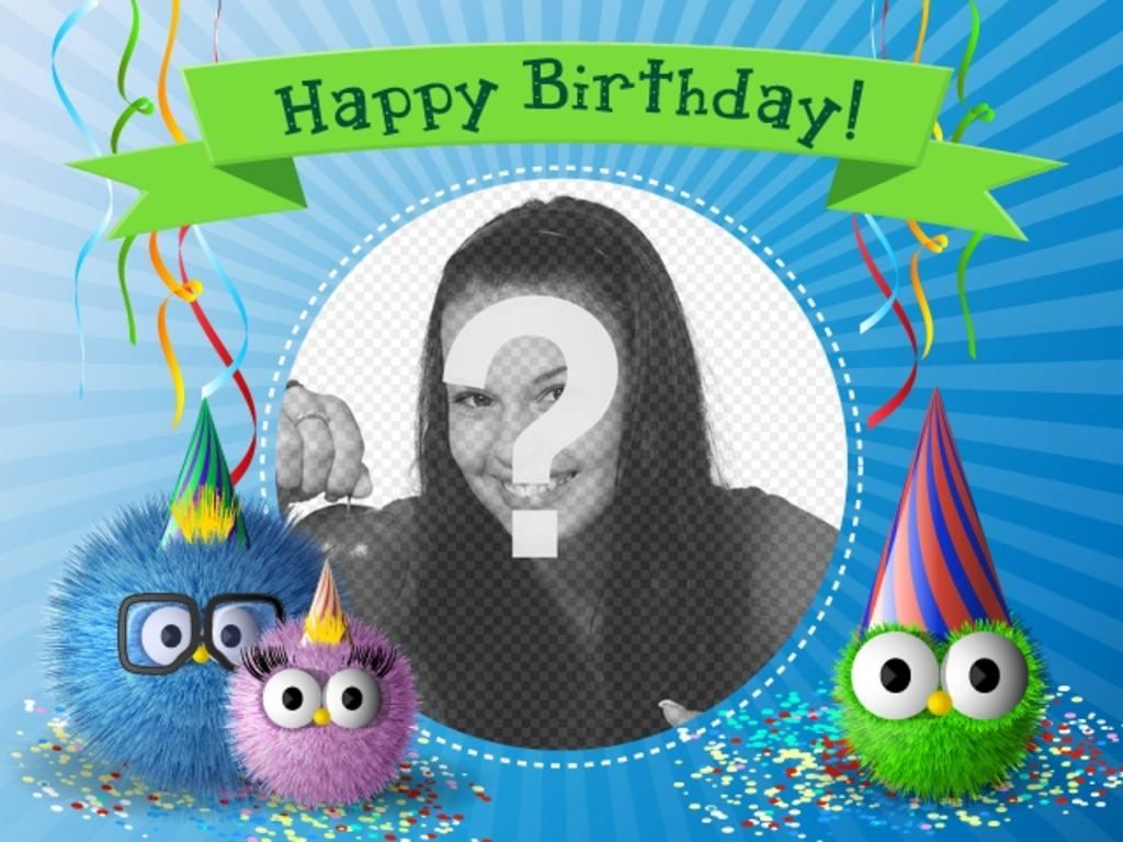 Scheda di compleanno con i mostri in una festa