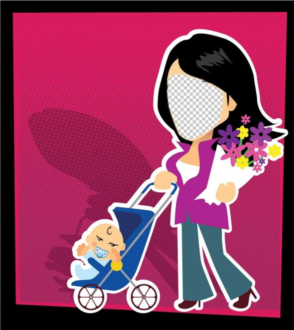 Scheda di giorno madri con uno stile cartone animato