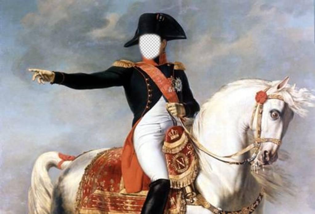 Fotomontaggio con Napoleone Bonaparte sul suo cavallo