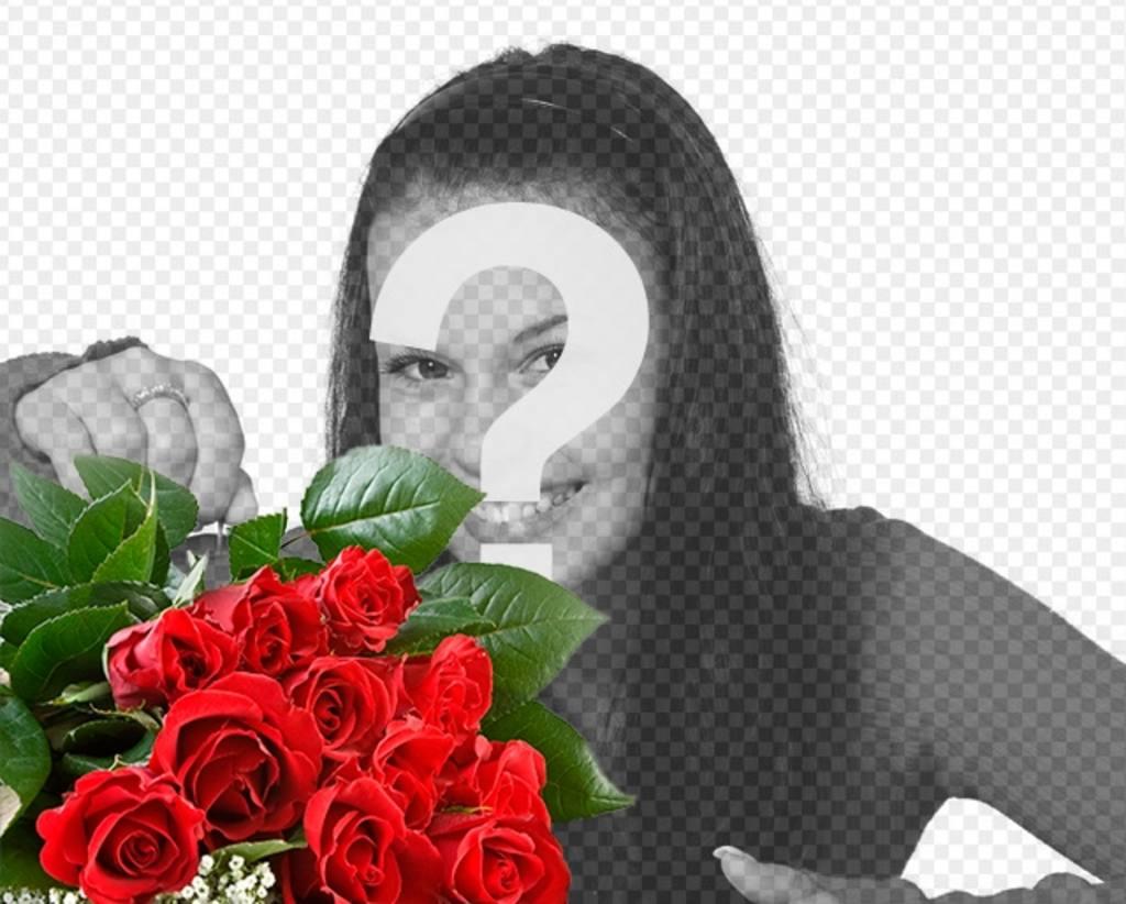 Aggiungi le tue foto di un bouquet di rosa romantico per dare al vostro amante e aggiungere del testo online