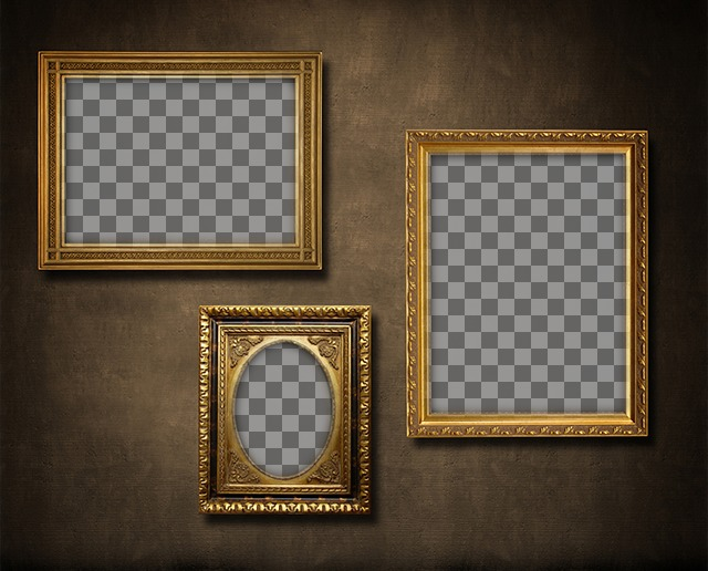 Da parete con 3 cornici dorate a mettere le vostre foto con un tocco retr fotoeffetti - Cornici foto da parete ...