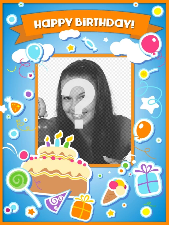 Carta di compleanno per congratularmi con il compleanno e mettere una foto online con una torta, palloncini e regali con effetto adesivo