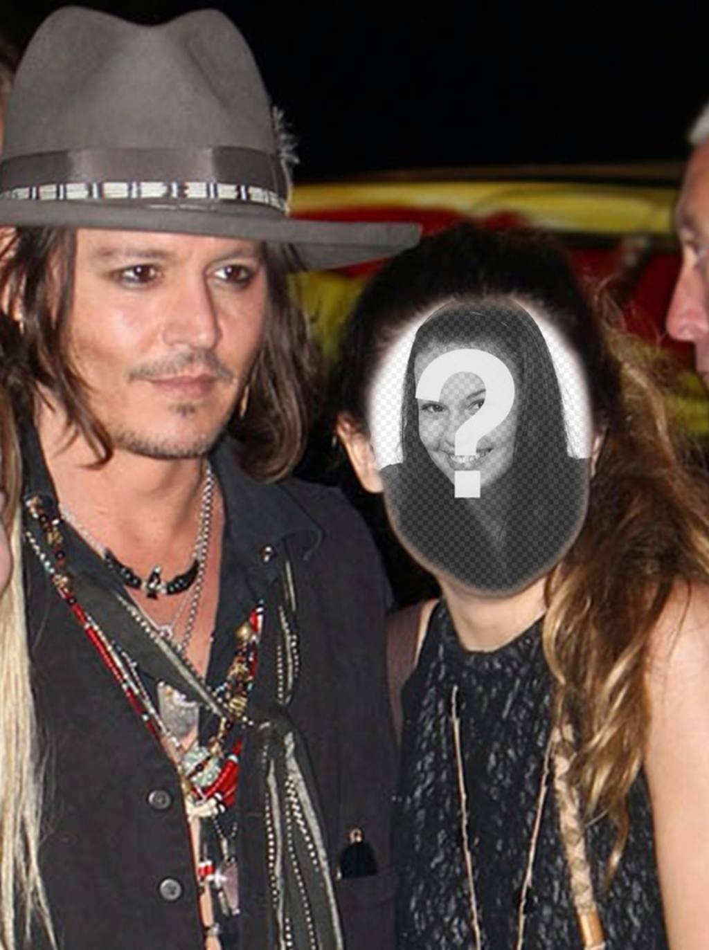 Fotomontaggio con Johnny Depp per avere una foto con lui e scrivere un testo su di esso on-line
