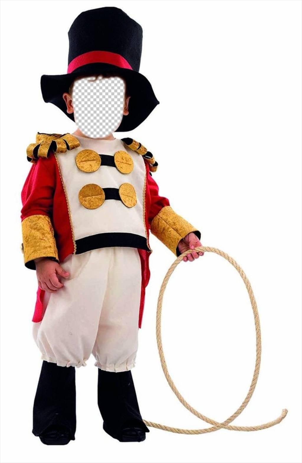 I bambini fotomontaggio di Lion Tamer di circo per modificare