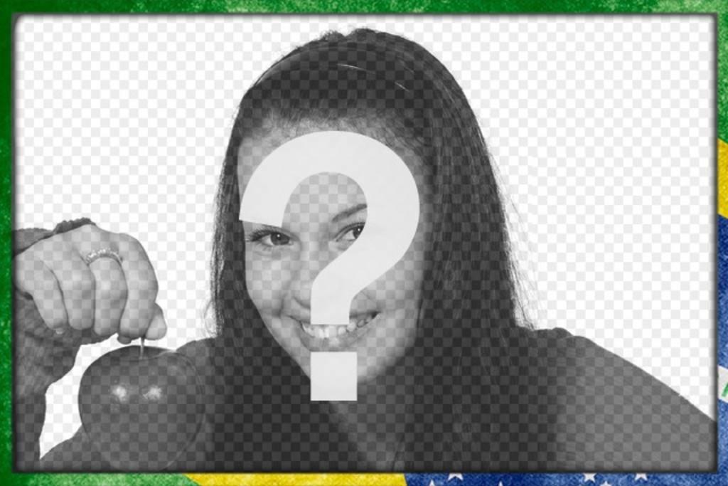 Cornice per foto con la bandiera del Brasile con uno stile grunge per personalizzare le vostre foto e di aggiungere del testo online