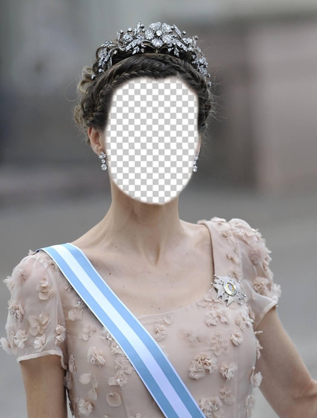 Fotomontaggio della principessa Letizia, con una grande corona di inserire la tua foto