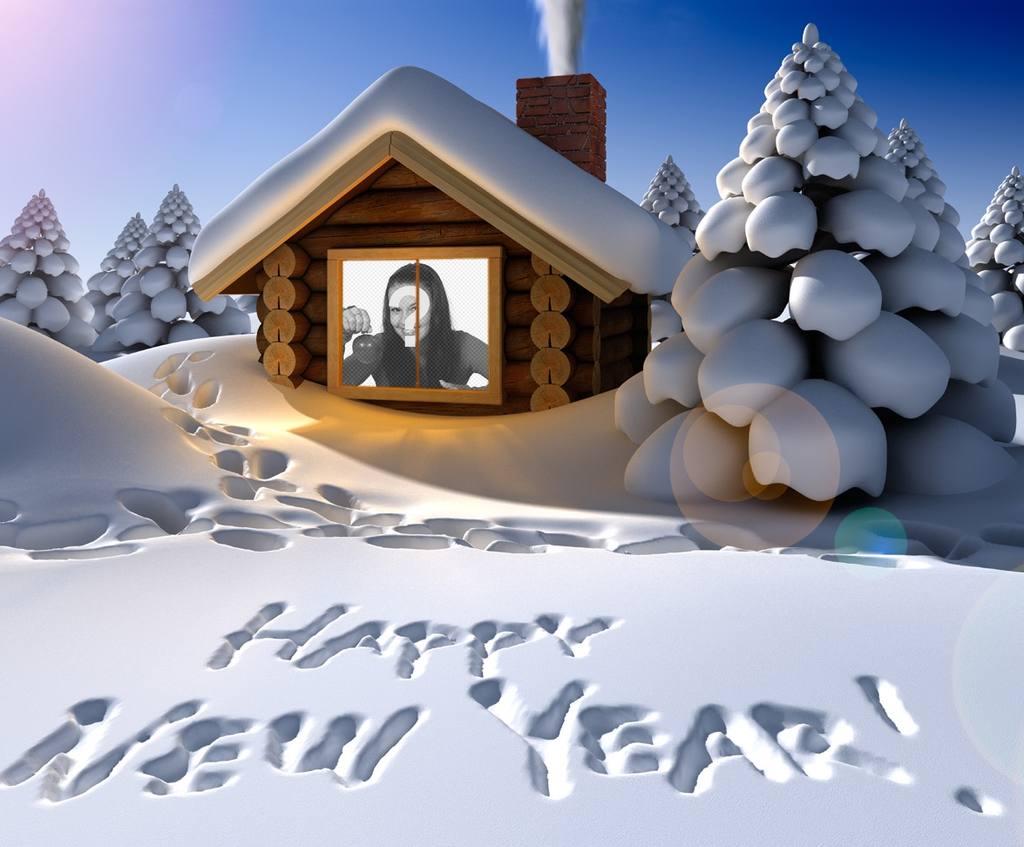 Anno nuovo biglietto di auguri originale scritto sulla neve con la tua foto allinterno di una casa di neve