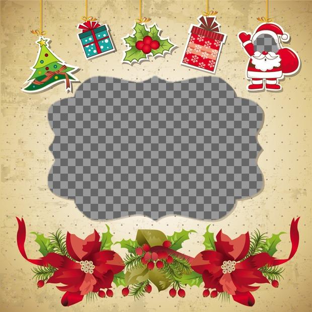 Divertimento Cartolina di Natale che si può fare con 2 foto, che ha messo una faccia sulla Babbo Natale e una foto in una scatola di Natale