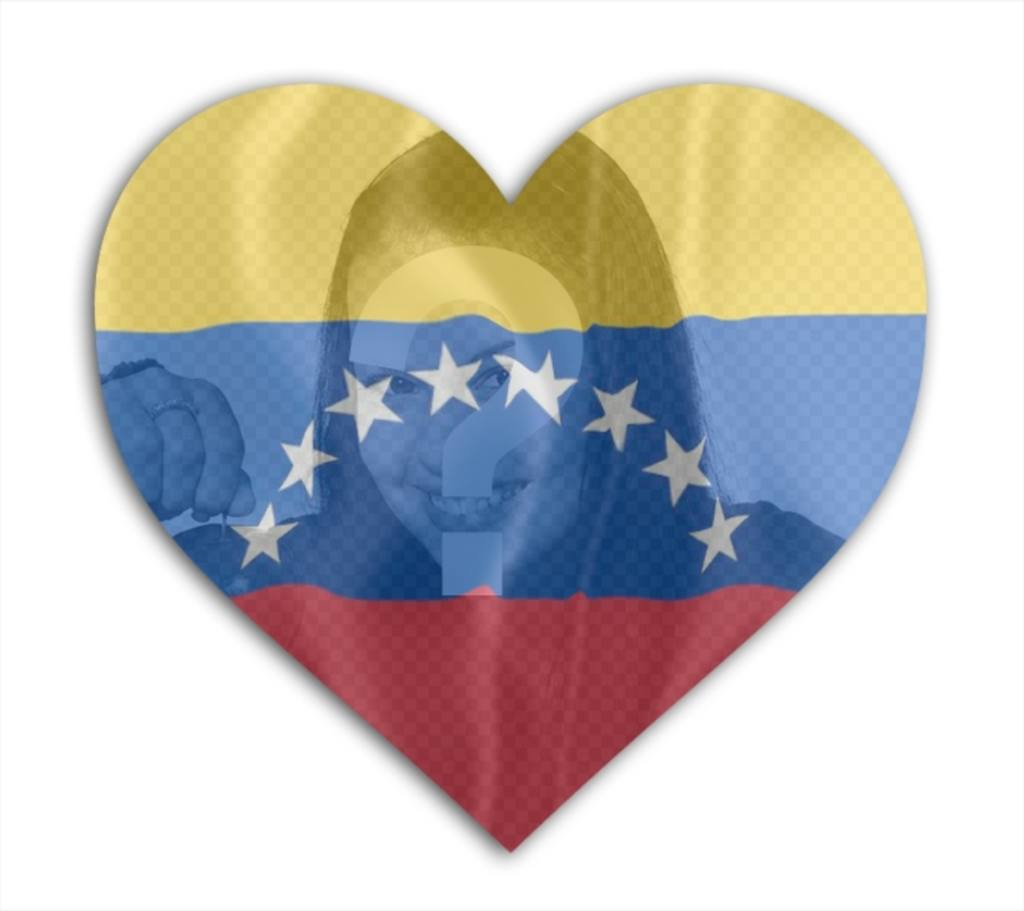 Fotomontaggio cuore Venezuela bandiera a forma di mettere sul tuo profilo foto