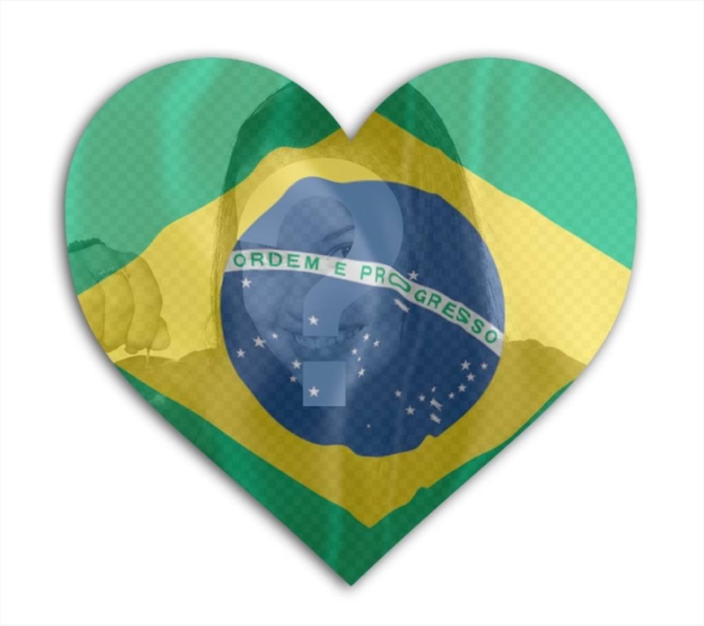 Fotomontaggio di mettere la bandiera brasiliana a forma di cuore con la tua foto in background